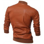 cheap Stand Collar Rib-Hem Zip Up Faux Leather Jacket