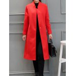 cheap Stand Neck Embroidered Wool Blend Long Coat