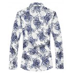 cheap Buttoned Sequins Floral Long Sleeve Shirt