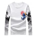 cheap Ethnic Fish Floral Printed T-Shirt and Jogger Pants Twinset