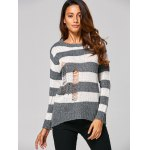 cheap Distressed Striped Ribbed Sweater