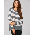 Distressed Striped Ribbed Sweater deal