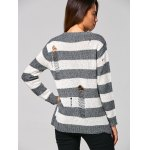 best Distressed Striped Ribbed Sweater