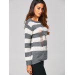 Distressed Striped Ribbed Sweater for sale