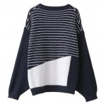 cheap Striped Patchwork Pullover Sweater
