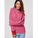 cheap Drop Shoulder Contrast Ribbed Sweater