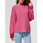 Drop Shoulder Contrast Ribbed Sweater