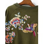 Blossom Embroidery Pullover Sweatshirt for sale