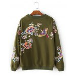 cheap Blossom Embroidery Pullover Sweatshirt