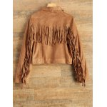 cheap Tassels Suede Biker Jacket