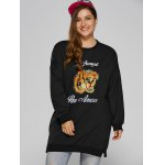 cheap Tiger Embroidered Plus Size Sweatshirt Dress