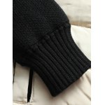 Badge Embellished Knitted Sleeves Zipper Padded Jacket deal