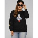 cheap Raglan Sleeve Embroidered Plus Size Sweatshirt