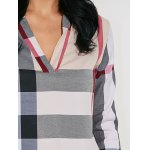 High-Low Checked Slimming Blouse for sale