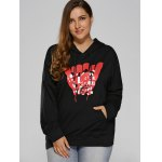 cheap Front Pocket Plus Size Graphic Hoodie