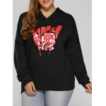Front Pocket Plus Size Graphic Hoodie