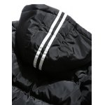 Contrast Stripe Rib Cuff Zip Up Hooded Padded Coat deal