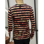 Stripes Printed Round Neck Long Sleeve T-Shirt deal