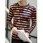 Stripes Printed Round Neck Long Sleeve T-Shirt