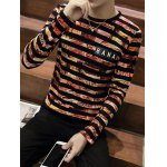 cheap Stripes Printed Round Neck Long Sleeve T-Shirt