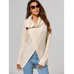 cheap Hollow Out Front Slit Wrap Sweater