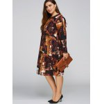 cheap Plus Size Printed Cocoon Dress with Pocket