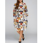 Plus Size Buildings Cocoon Dress with Pocket