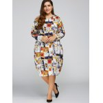 cheap Plus Size Buildings Cocoon Dress with Pocket