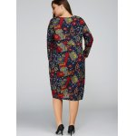 Plus Size Flower Cocoon Dress with Pocket for sale