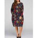 Plus Size Flower Cocoon Dress with Pocket