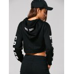 Drawstring East Graphic Short Hoodie for sale