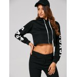 cheap Drawstring East Graphic Short Hoodie