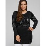 cheap Long Sleeve Plus Size Studded Top