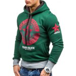 cheap Star Printed Color Block Pullover Green Hoodie