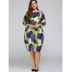 cheap Plus Size Scrawl Cocoon Dress with Pocket