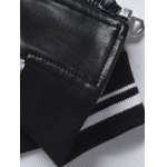 Embroidered Patch Zip Pocket Faux Leather Jacket photo