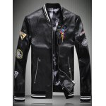 Embroidered Patch Zip Pocket Faux Leather Jacket