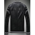 cheap Embroidered Patch Zip Pocket Faux Leather Jacket