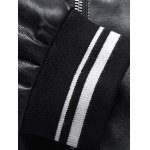 Embroidered Patch Zip Pocket Faux Leather Jacket for sale