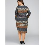 Plus Size Aztec Cocoon Dress with Pocket for sale