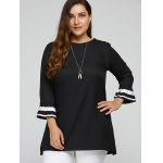 Contrast Pleated Cuffs Plus Size Top deal