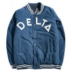 Striped Rib Snap Button Up Letter Padded Jacket