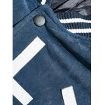 Striped Rib Snap Button Up Letter Padded Jacket deal