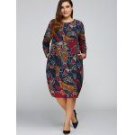 cheap Plus Size Print Cocoon Dress with Pocket