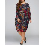Plus Size Print Cocoon Dress with Pocket