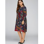 Plus Size Print Cocoon Dress with Pocket deal