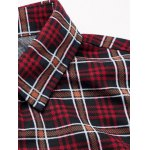 cheap Turn-Down Collar Plus Size Checked Long Sleeve Shirt