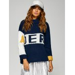 cheap Active Inverse Letter Red Pattern Sweater