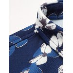cheap Plus Size Flower Leaves Print Long Sleeve Shirt