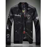 Lion Applique Embroidered Faux Leather Jacket